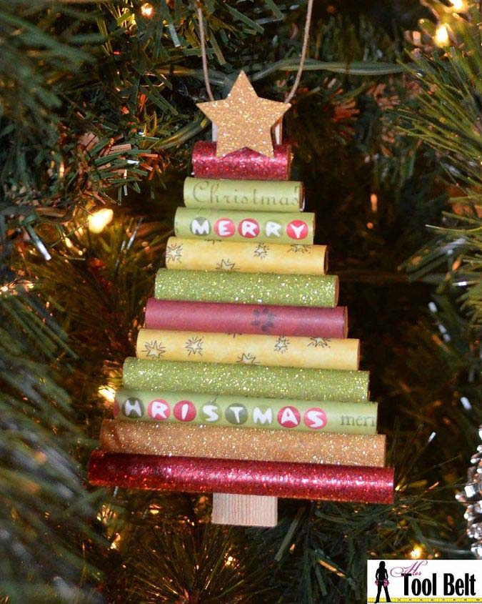 Rolled Paper Christmas Tree Ornament #Christmas #ornaments #dollarstore #decorhomeideas