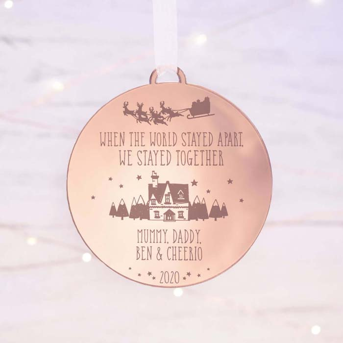 Rose Gold Pandemic Metal Stamped Bauble #Christmas #personalizedbaubles #baubles #decorhomeideas
