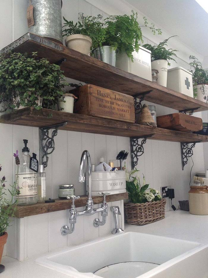 Rustic Wooden Kitchen Shelves with Potted Ferns #frenchcountry #decor #decorhomeideas