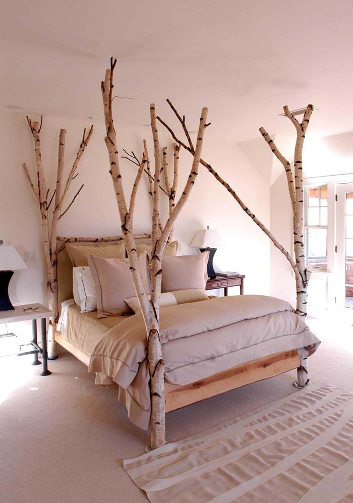 Scandinavian Forest Four-Poster Bed #branches #homedecor #decorhomeideas