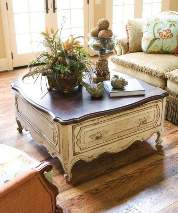 Shabby Chic Wooden Coffee Table #frenchcountry #decor #decorhomeideas