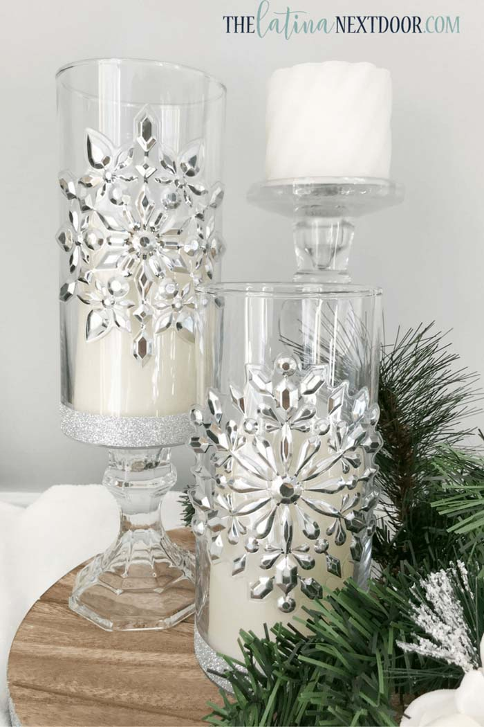 Silver Crystal Raised Candleholder Set #Christmas #silver #decorations #decorhomeideas