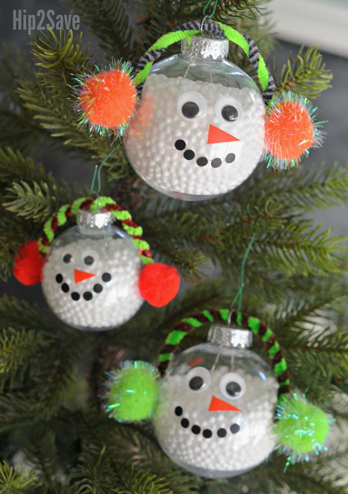 Simple Snowman Ornament #Christmas #ornaments #kids #diy #decorhomeideas