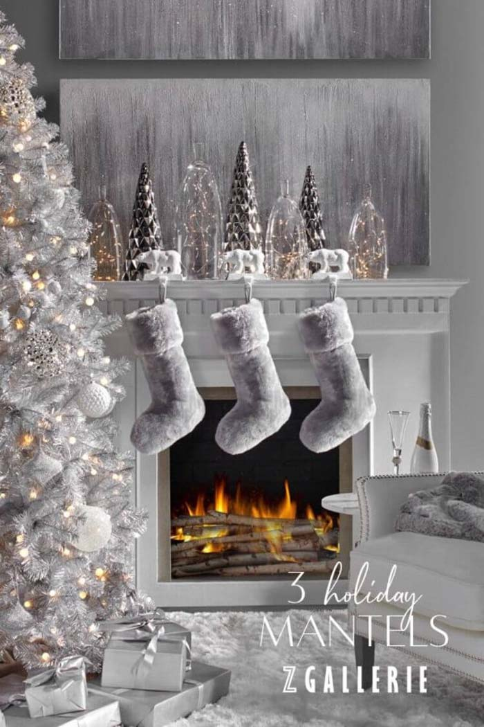 Soft Plush Hanging Christmas Stockings #Christmas #silver #decorations #decorhomeideas