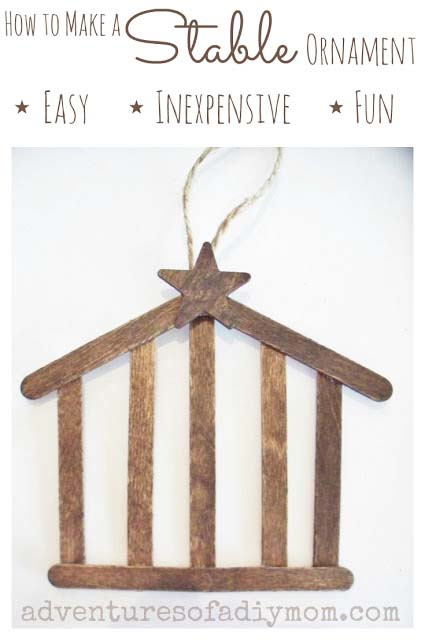 Stable Ornament #Christmas #ornaments #dollarstore #decorhomeideas