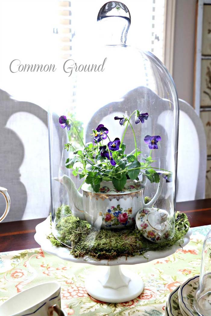 Sweet Teapot Planter Cloche Centerpiece #frenchcountry #decor #decorhomeideas