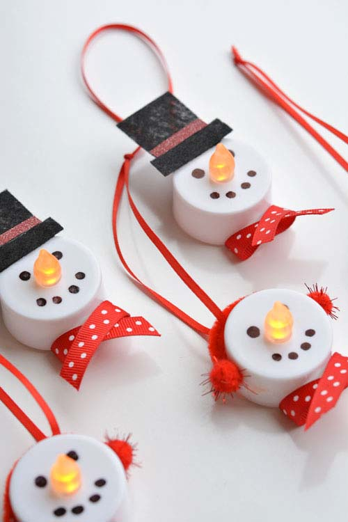 Tea Light Snowman Ornaments #Christmas #ornaments #kids #diy #decorhomeideas