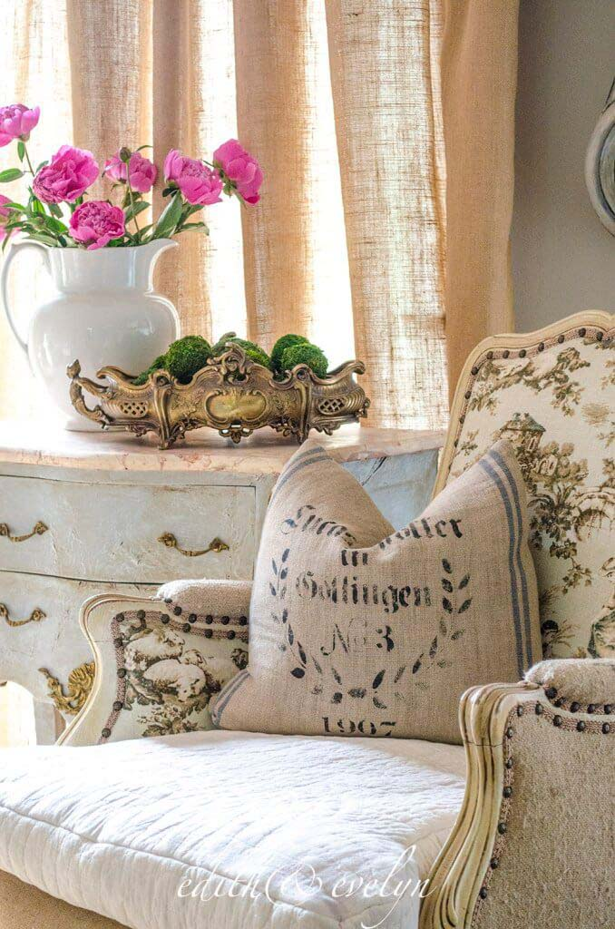 Toile and Rustic Linen Chair #frenchcountry #decor #decorhomeideas