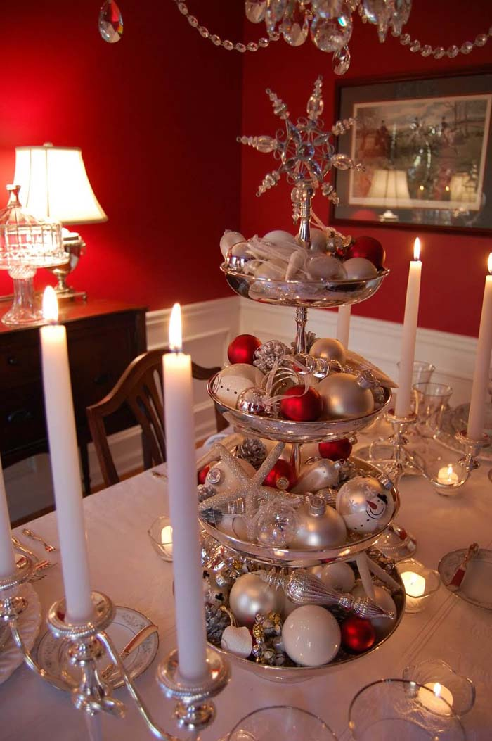 Towering Silver Centerpiece Display With Red Accent Ornaments #Christmas #cakestand #decorhomeideas