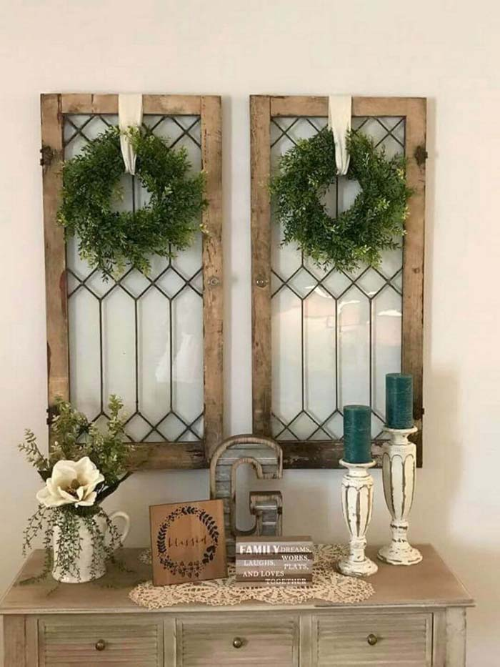 Twice the Impact with Matching Antique Windows #farmhouse #furniture #decorhomeideas