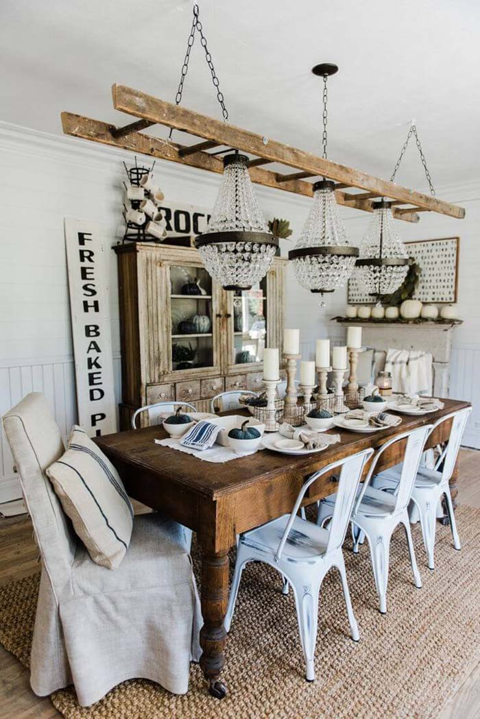 Ultimate Shabby Chic with Ladder and Chandeliers #farmhouse #furniture #decorhomeideas