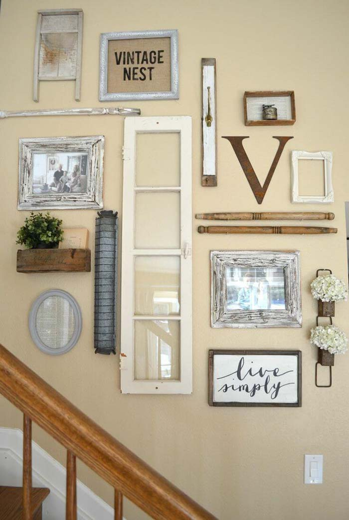 Upcycled Architectural Salvage Stairway Wall #farmhouse #furniture #decorhomeideas