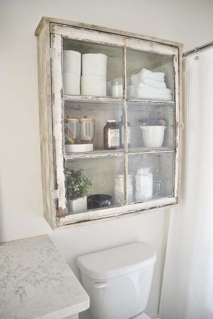 Upcycled Over-Toilet Bathroom Storage Cabinet #overtoiletstorage #storage #toilet #decorhomeideas