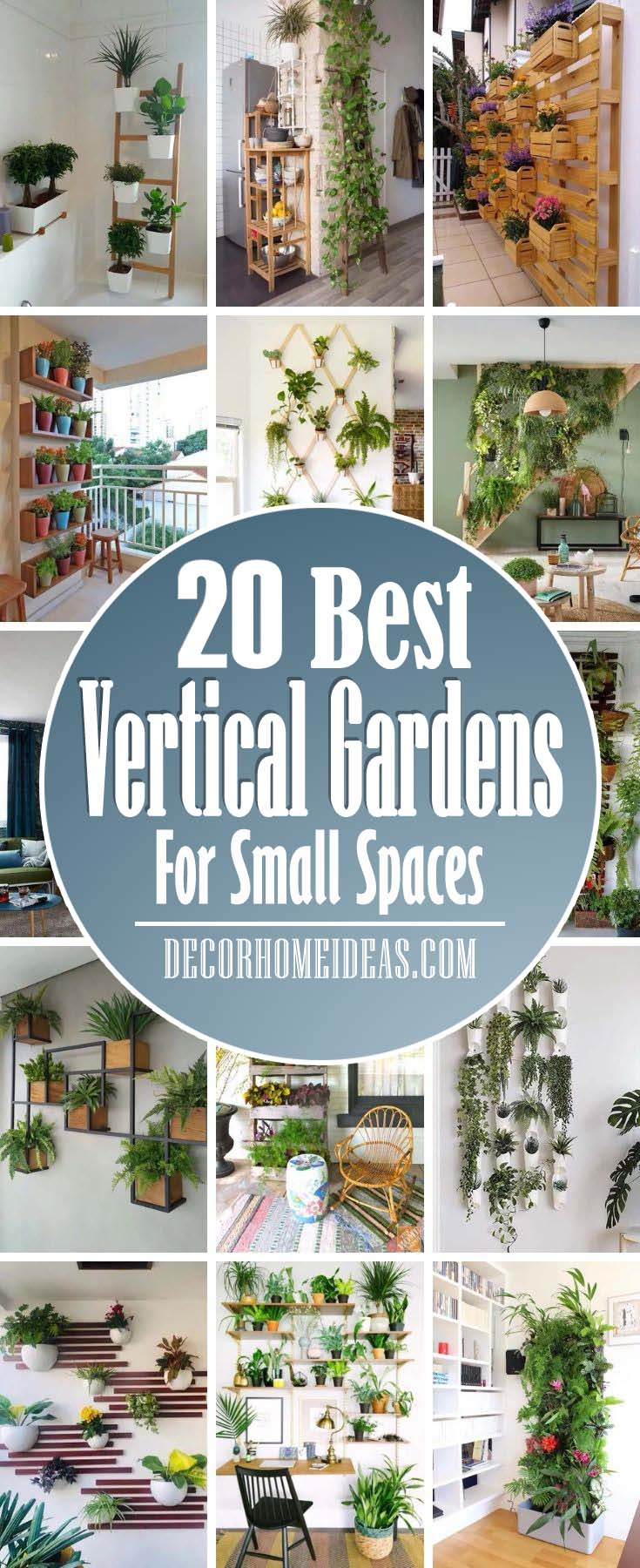Vertical Garden Ideas For Small Spaces. These gorgeous vertical gardening ideas for small spaces are the best way to get inspired. Whether you want ideas for hanging gardens, wall mounted planters, vertical containers, or vine supports, these fabulous DIY vertical garden designs will inspire you! #decorhomeideas