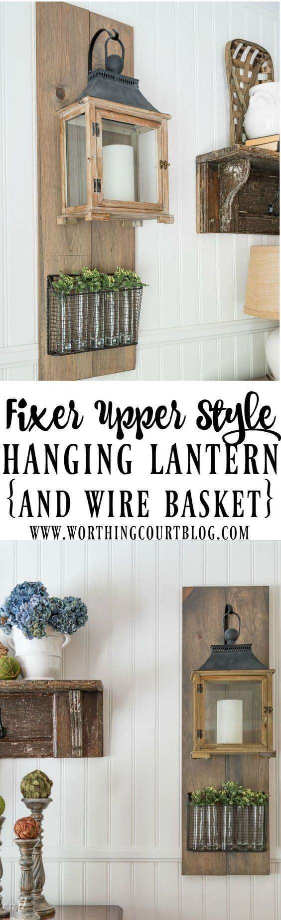 Wall-Hanging Lantern and Plant Display #farmhouse #furniture #decorhomeideas