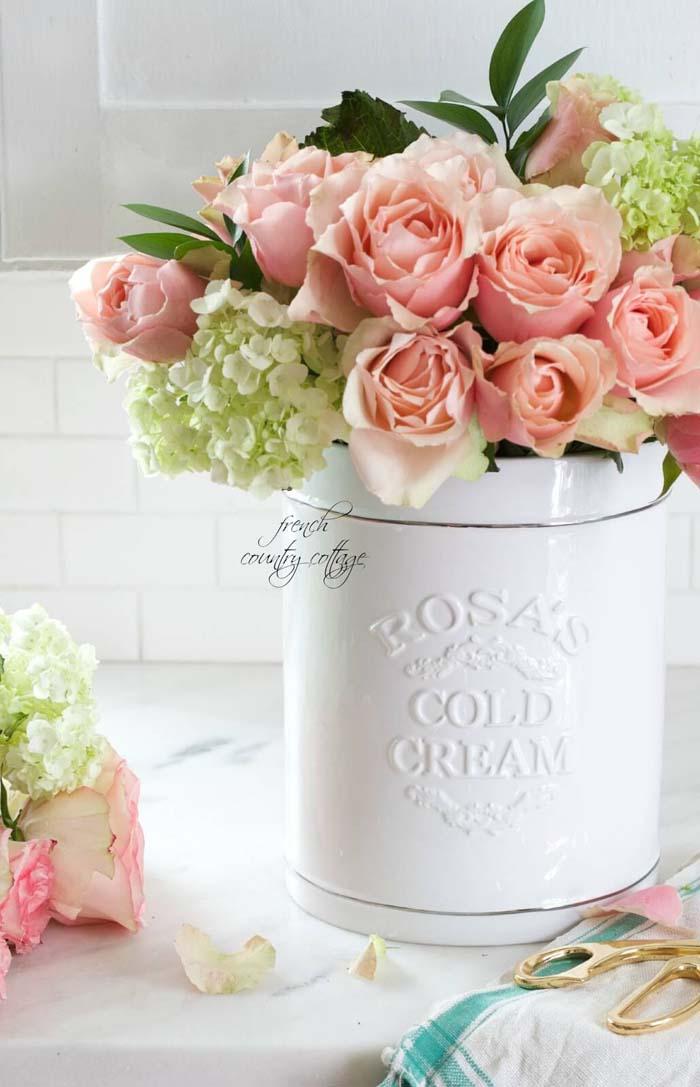 White Ceramic Crock Flower Vase #frenchcountry #decor #decorhomeideas