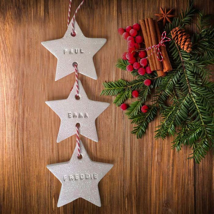 White Clay Stamped Strung Star Baubles #Christmas #personalizedbaubles #baubles #decorhomeideas