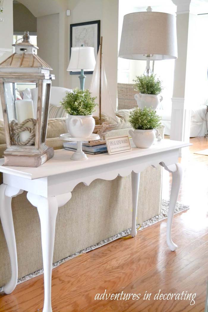 White Couch Table with Oversized Accessories #frenchcountry #decor #decorhomeideas