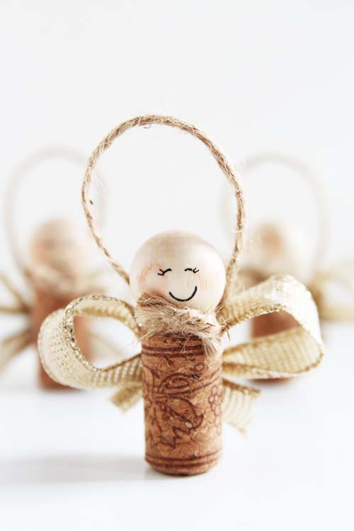 Wine Cork Angel Ornaments #Christmas #ornaments #kids #diy #decorhomeideas