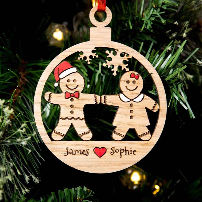 Wooden Gingerbread People Cut Personalized Bauble #Christmas #personalizedbaubles #baubles #decorhomeideas