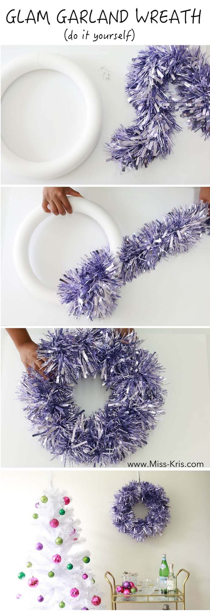 Add Some Sparkle with a Tinsel Wreath #Christmas #crafts #decorations #decorhomeideas
