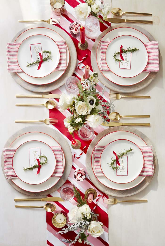 Assemble a Peppermint-Inspired Table #Christmas #stylish #decorhomeideas