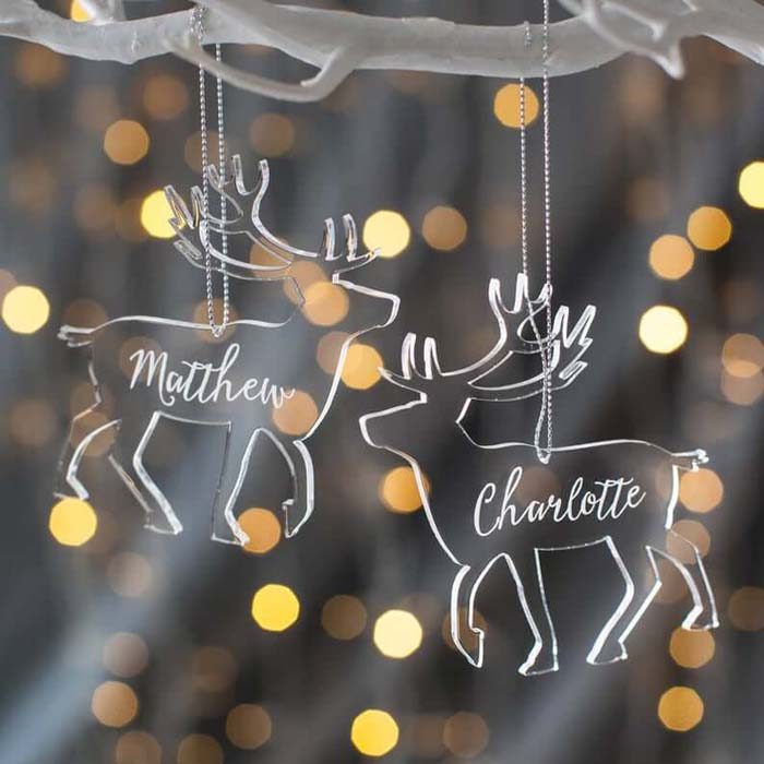 Beautiful Personalized Clear Christmas Reindeer Decoration Idea #Christmas #reindeer #decorhomeideas