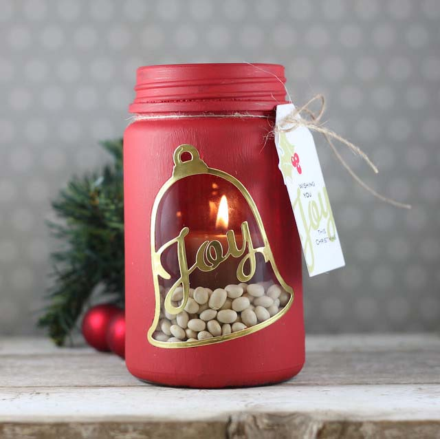 Bell Mason Jar Candle Holder #Christmas #cheap #elegant #decorhomeideas