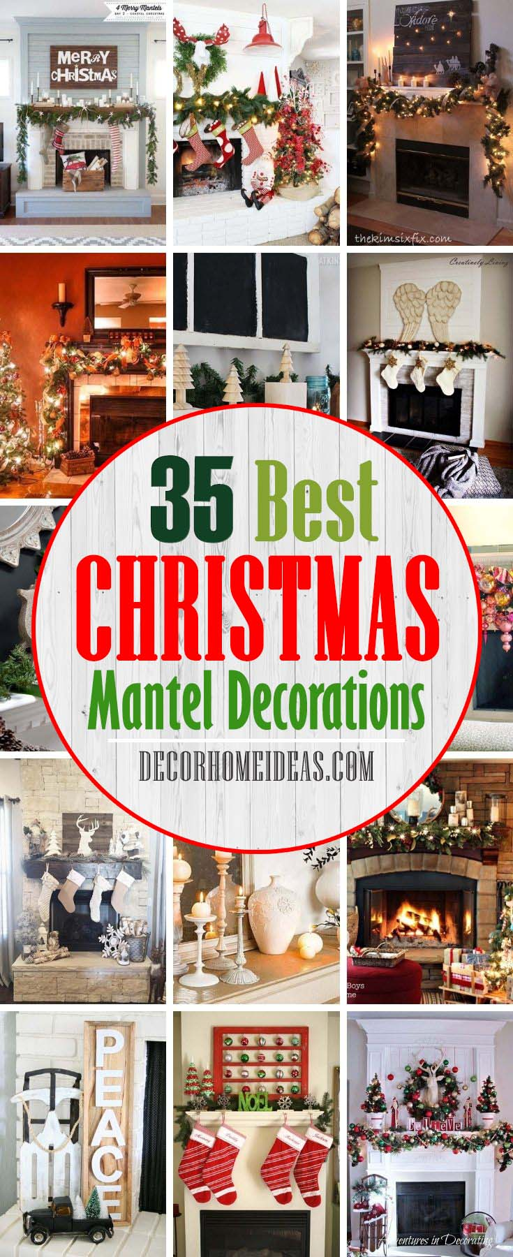 Best Christmas Mantel Decoration Ideas. To inspire your Christmas mantel decorating, we've included options that will suit every style and aesthetic. From farmhouse style, like repurposed crates and windows, to modern black-and-white color palettes, we've made choosing your Christmas decorations much easier. #decorhomeideas