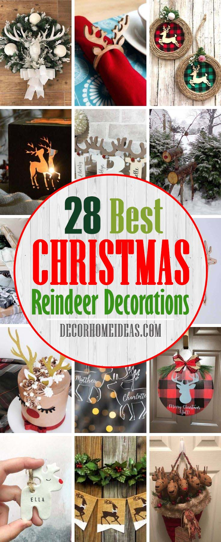 Best Christmas Reindeer Decoration. Christmas is the perfect time of year to decorate your home with DIY Christmas reindeer decor! Sure Santa is common, snowmen are wonderful, and Christmas trees will always have their place, but Christmas reindeer are so cute, festive and fun! #decorhomeideas