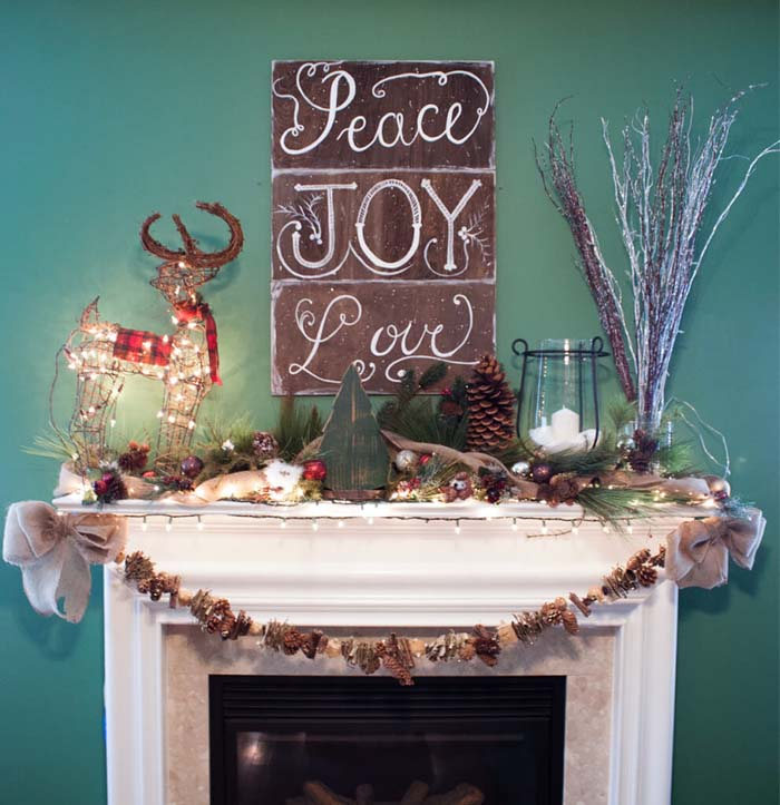 Bring Winter Indoors with Natural Decorations #Christmas #mantel #decorhomeideas