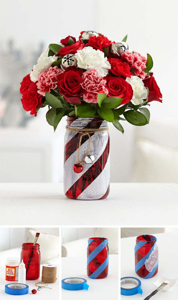 Candy Cane Mason Jar #Christmas #cheap #elegant #decorhomeideas