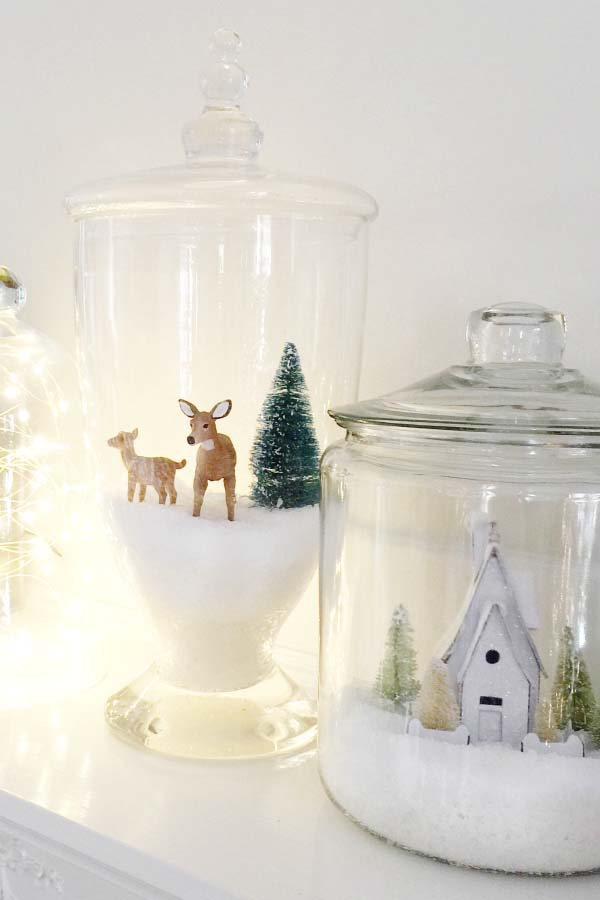 Christmas Village Jars #Christmas #cheap #elegant #decorhomeideas