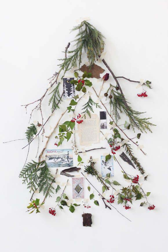 Collage Christmas Tree #Christmas #Christmastree #nontraditional #decorhomeideas