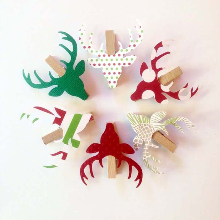 Colorful Reindeer Clothespins for a Fun and Festive Touch #Christmas #reindeer #decorhomeideas