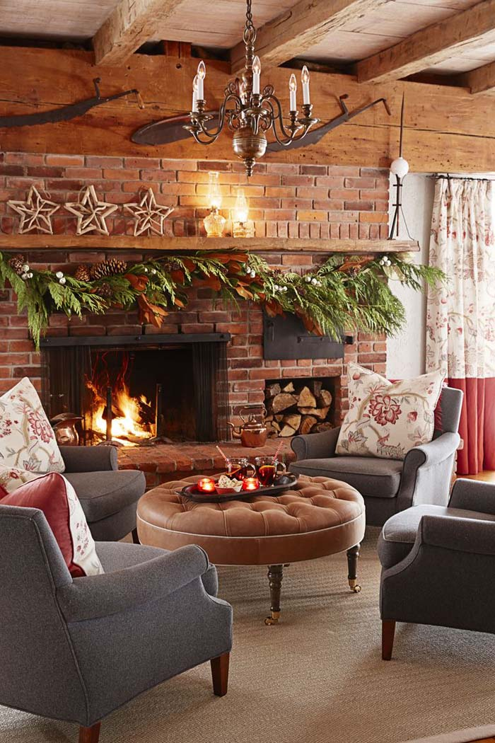 Cozy Up Your Fireplace #Christmas #style #decorhomeideas