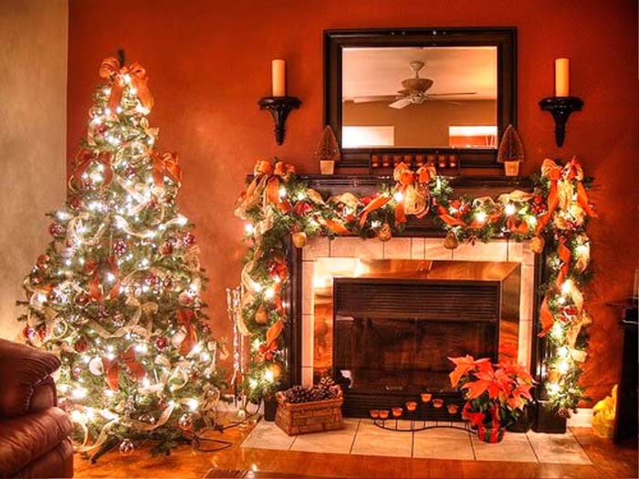Create Cohesion By Matching Tree and Mantel #Christmas #mantel #decorhomeideas