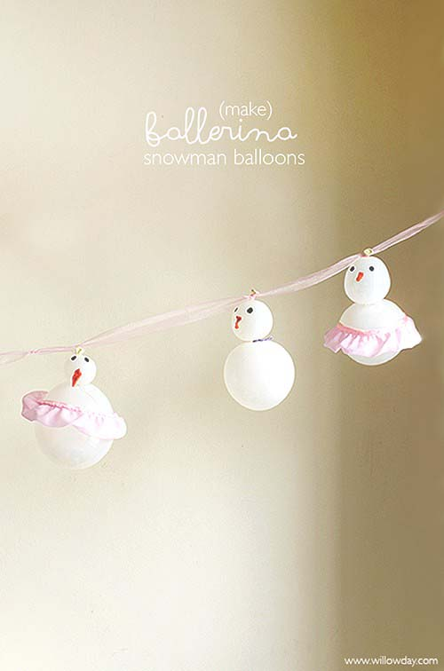 DIY Ballerina Balloon Snowman Garland #Christmas #snowman #crafts #decorhomeideas