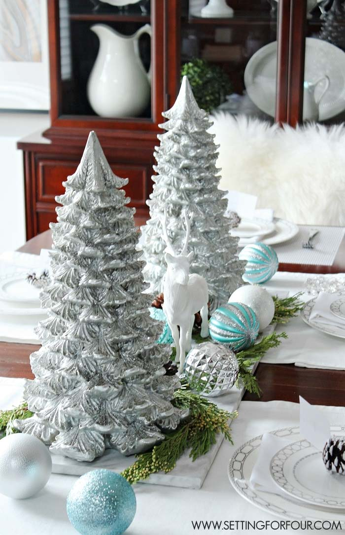DIY Winter Woodland Glam Christmas Centerpiece #Christmas #cheap #elegant #decorhomeideas