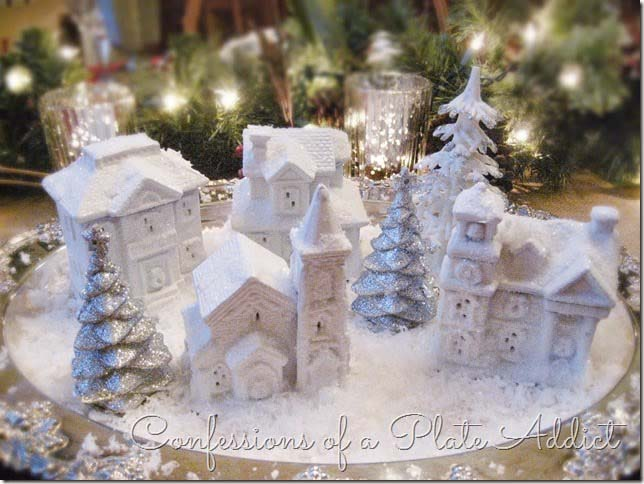 Dollar Tree Snowy Village #Christmas #cheap #elegant #decorhomeideas