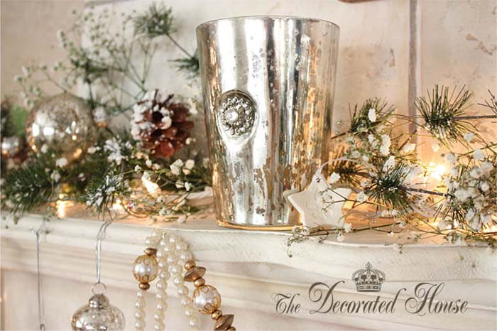 Ethereal Mercury Glass Dusted with Snow #Christmas #mantel #decorhomeideas
