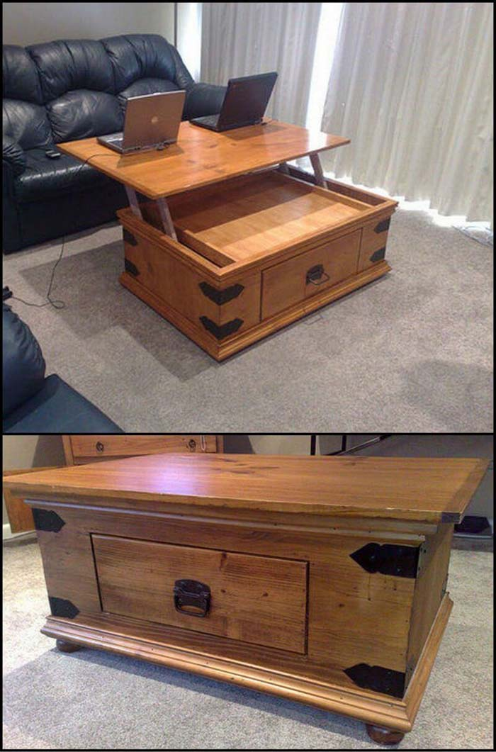 Flip Up Coffee Table Workspace