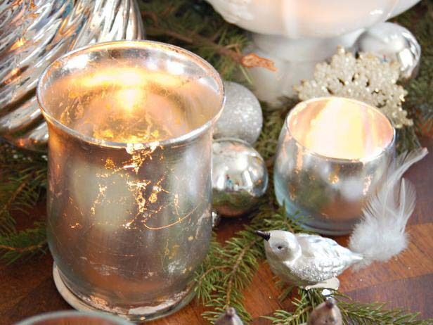 Mercury Glass Votives #Christmas #cheap #elegant #decorhomeideas