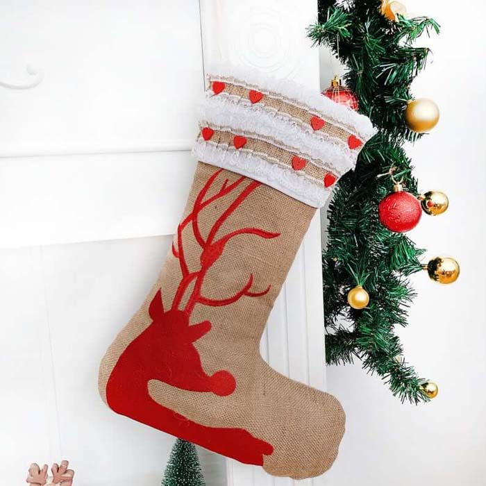 Personalized Burlap Reindeer Stocking with Embroidery #Christmas #reindeer #decorhomeideas
