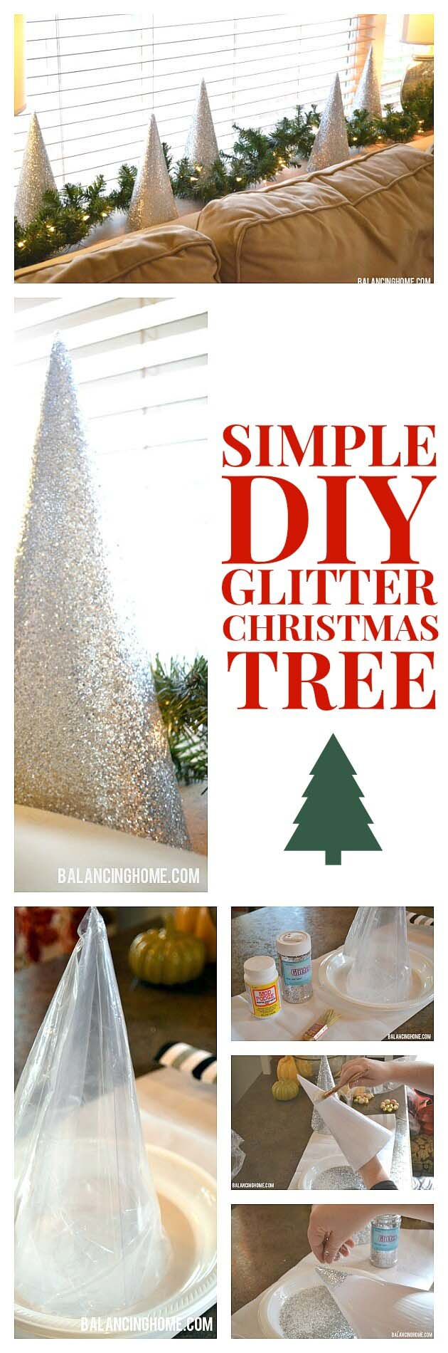 Quick and Cute DIY Glitter Christmas Tree #Christmas #crafts #decorations #decorhomeideas