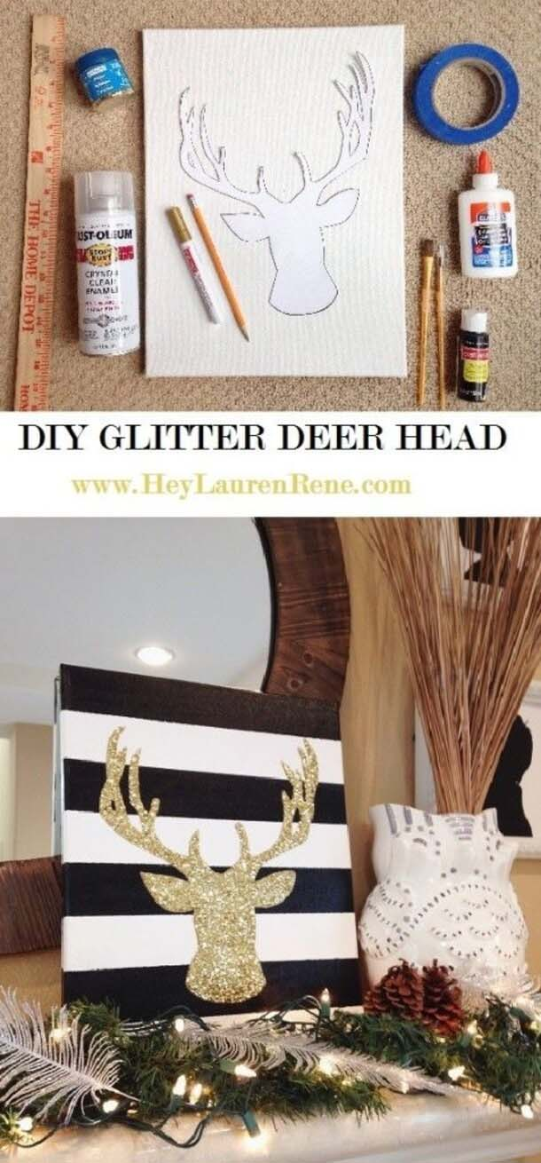 Rustic Meets Glam with Glitter Deer Art #Christmas #crafts #decorations #decorhomeideas