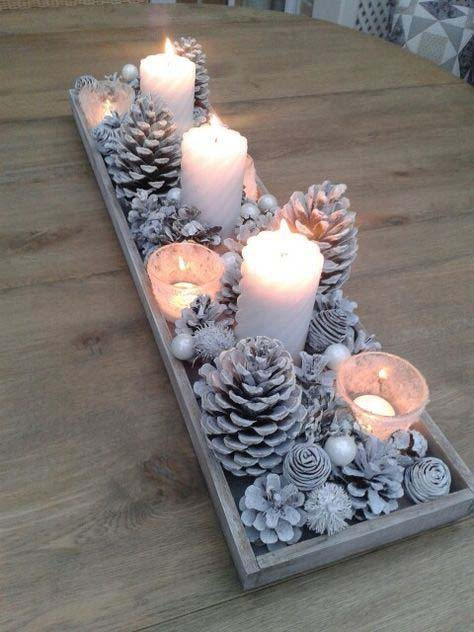Silver and White Pinecone Wood Box Centerpiece #Christmas #cheap #elegant #decorhomeideas