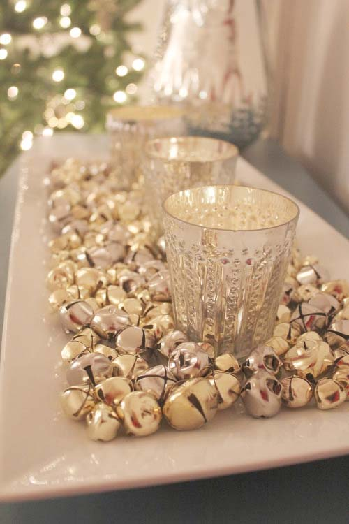 Silver Bells Candle Tray #Christmas #cheap #elegant #decorhomeideas