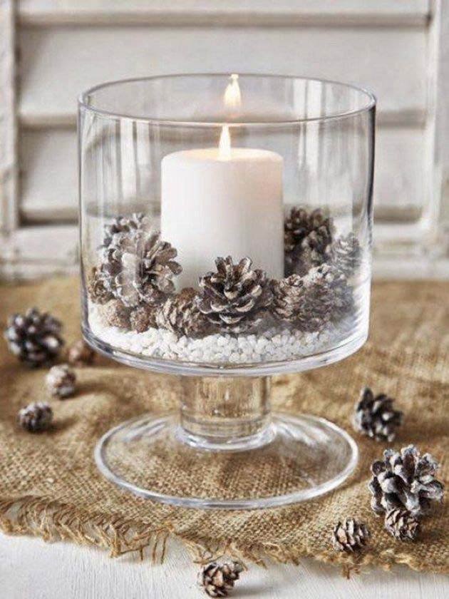 Snowy Candle Holder #Christmas #cheap #elegant #decorhomeideas