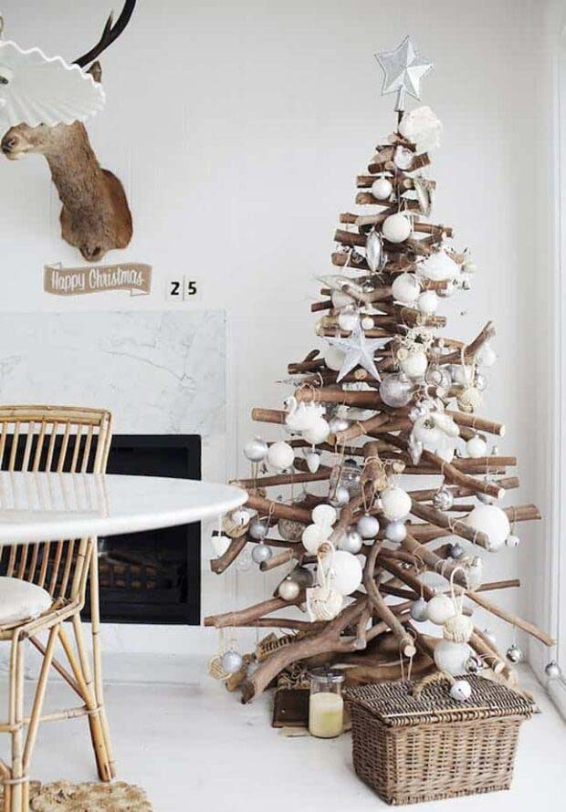 Stacked Branches #Christmas #Christmastree #nontraditional #decorhomeideas